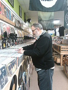 Alan Haber browses at Trax on Wax