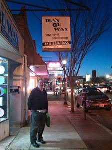 Alan Haber takes in the atmosphere outside of Trax on Wax