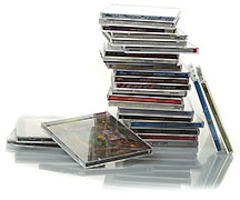Hey! It's Pure Pop Radio's pile of CDs!