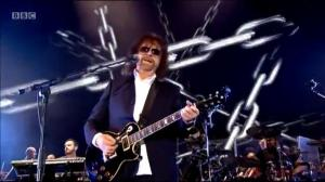 Jeff Lynne strums his guitar at BBC Radio 2's Festival in a Day