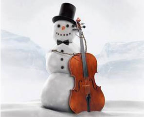 snowman with instrument