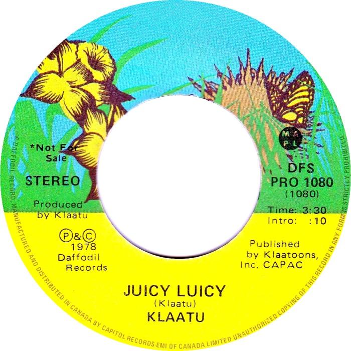 klaatu juicy luicy 45 label