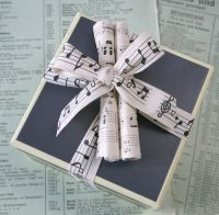 holiday music wrapped gift